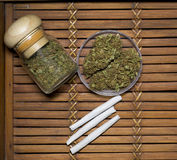 Marijuana on a bamboo tray Royalty Free Stock Image
