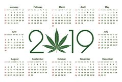 Marijuana calendar for 2019. Medical Cannabis. Simple Vector Template. Stationery Design Template. Isolated vector illustration on white background vector illustration
