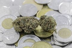 Marijuana on Canadian Cash. And Coins Stock Images