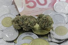 Marijuana on Canadian Cash. And Coins Royalty Free Stock Photos