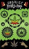 Marijuana cannabis design grungy stamps Stock Photos