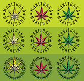Marijuana cannabis ganja leaf symbol graphic Royalty Free Stock Photos