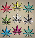 Marijuana cannabis ganja leaf symbol graphic Stock Image