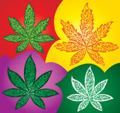 Marijuana cannabis ganja leaf symbol made of fire flames Royalty Free Stock Images
