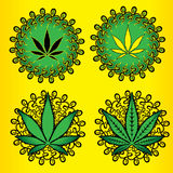 Marijuana cannabis green leaf  illustration Stock Photo