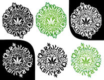 Marijuana cannabis green leaf silhouette stamp  illustration Stock Photos
