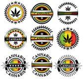 Marijuana cannabis leaf decorative jamaican stampssign Stock Photos