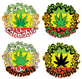 Marijuana cannabis leaf decorative jamaican style stamps Royalty Free Stock Photos