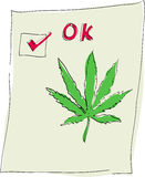 Marijuana cannabis leaf ok check Royalty Free Stock Image