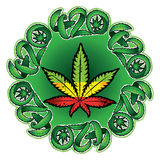 Marijuana cannabis leaf symbol design stamp  illustration Royalty Free Stock Images