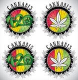 Marijuana cannabis leaf symbol design stamps  illustration Stock Photo