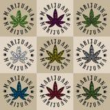 Marijuana cannabis leaf symbol stamps Stock Photo