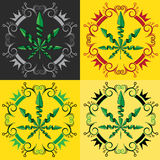 Marijuana cannabis leaf symbol stamps Stock Photography