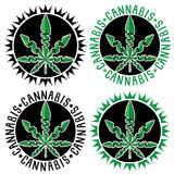 Marijuana cannabis leaf symbol stamps Stock Photo