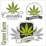 Marijuana - cannabis. For medical use. Vector set. Stock Images