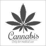 Marijuana - cannabis. For medical use. Vector set Stock Image