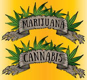 marijuana cannabis paper ribbon billboard Royalty Free Stock Image