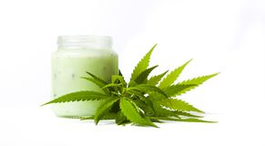 Marijuana and cannabis paste jar isolated stock images
