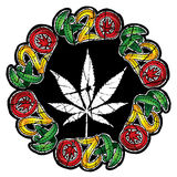 Marijuana cannabis textured leaf symbol design stamp  illustration Stock Photography