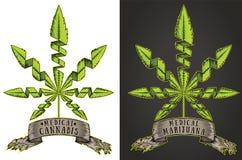 Marijuana cannabis weed grungy banner ribbon billboard Royalty Free Stock Images