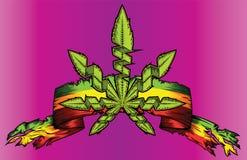 Marijuana cannabis weed grungy paper ribbon billboard Stock Image