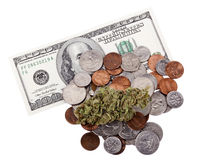 Marijuana, changement et argent liquide Photos libres de droits