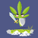 Marijuana character in warrior style. protect and against concep Royalty Free Stock Image