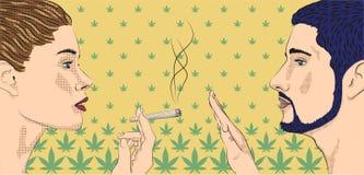 A marijuana de fumo do cannabis da erva daninha do fumo da senhora da menina da mulher rolou o cig Imagens de Stock Royalty Free