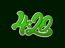 Marijuana de 4h20 en marquant avec des lettres le style avec la feuille cannabis Conception d'illustration de vecteur illustration de vecteur