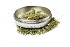 Marijuana, Drug Paraphernalia, White Background Stock Photos