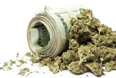 Marijuana e dinheiro Fotografia de Stock Royalty Free