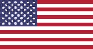 Marijuana en bandera de los E.E.U.U. stock de ilustración