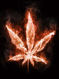 Marijuana in Fire. On Black Background. Computer Design. 2D Graphics Stock Images