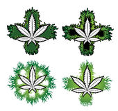 Marijuana first aid cross stamp  design Stock Photography