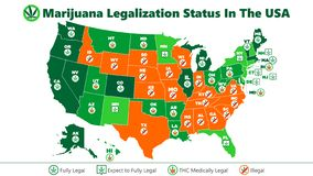 Free Marijuana Ganja Legalization Status In The USA Map Infographic Style Illustration Royalty Free Stock Image - 163868246
