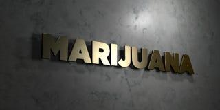 Marijuana - guld- text på svart bakgrund - 3D framförd fri materielbild för royalty stock illustrationer