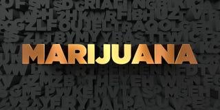 Marijuana - guld- text på svart bakgrund - 3D framförd fri materielbild för royalty Arkivbild