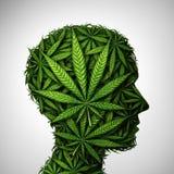 Marijuana Head medicinska Herb Symbol stock illustrationer