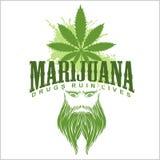 Marijuana and hippie - vector emblem Stock Photo