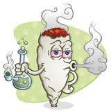 Marijuana Joint Cartoon Character Smoking a Bong. A marijuana joint cartoon character smoking a glass bong, blowing smoke and getting high Royalty Free Stock Photo