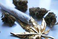 Marijuana Joint With Gold Leaf & Bud