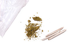 Marijuana with joints and bag Royalty Free Stock Photography