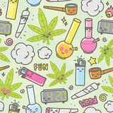 Marijuana kawaii cartoon seamless vector background Royalty Free Stock Images