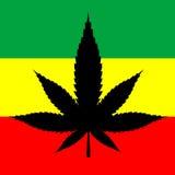 Marijuana Leaf. Silhouette on Jamaican flag Stock Images