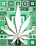 Marijuana leaf on abstract squares background Royalty Free Stock Photos