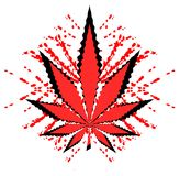 Marijuana leaf on blood spatters isolated Stock Photo