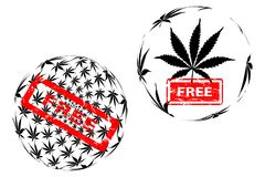 Marijuana leaf pattern and rubber stamp free. Marijuana leaf globe - black and white pattern and red rubber stamp free, International day for cannabis, April 20 Stock Images