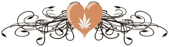 Marijuana leaf on an heart with floral fantasy isolated. Image representing a marijuana leaf on an heart Stock Photography