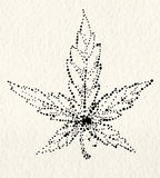 Marijuana leaf on the old watercolor paper background, vector image Royalty Free Stock Image