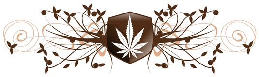 Marijuana leaf on an shield with floral fantasy isolated Royalty Free Stock Photos